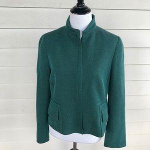 Akris Punto Forest Green Black Wool Stripe Jacket